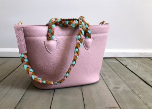 Beach Basket Leather Bag Pink