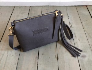 Mini Single Leather Bag Grey Nubuck
