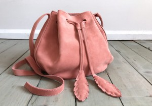 Little Bucket Feathers Bag Warm Pink Suede