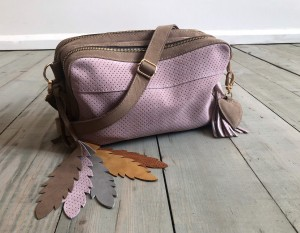 Torebka Nubuck Milk Chocolate + Dirty Pink Suede + Feathers Ready to Go!