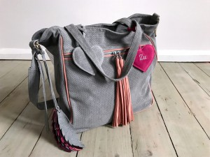 BigBag Midi Fringe Valour Leather + Feathers + Heart Grey + Warm Pink