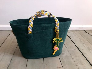 Beach Basket Leather Bag Emerald