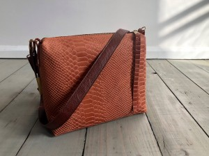Mini Single Leather Bag Croco Nubuck Peachy Brown