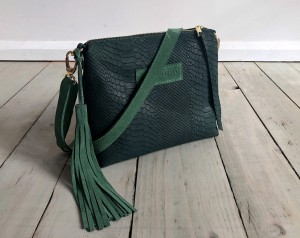 Mini Single Leather Bag Croco Nubuck Dark Emerald