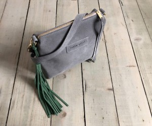 Mini Single Leather Bag Grey Suede + Green Ready to Go!