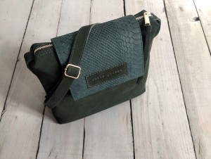 Single Clap Leather Bag Croco Nubuck Bottle Green Suede + Dark Emerald Croco