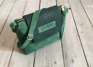 Mini Single Clap Leather Bag Dark Pastel Green Suede + Dark Emerald Croco Nubuck