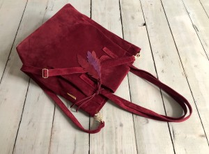 Mellow Bag Maroon Suede + Feathers