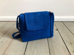 Mini Single Clap Leather Bag Sapphire Suede