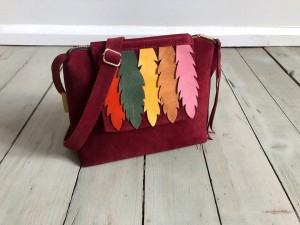 Mini Single Clap Pure Bag Maroon Suede