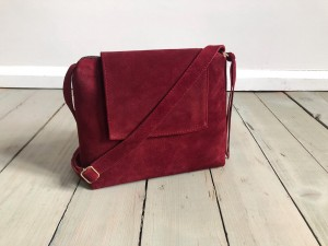 Mini Single Clap Leather Bag Maroon Suede