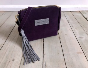 Mini Single Leather Bag Violet Plum Suede + Grey Ready to Go!