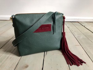 Mini Single Leather Bag Green + Maroon Ready to Go!