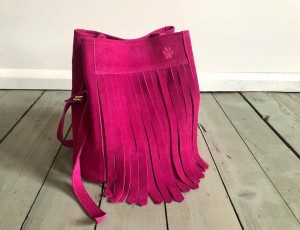Bucket Wild Fringes Bag Fuchsia Suede
