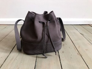 Mini Bucket Bag Dark Grey Nubuck + Croco