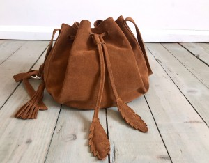 Little Bucket Feathers Bag Brown Suede