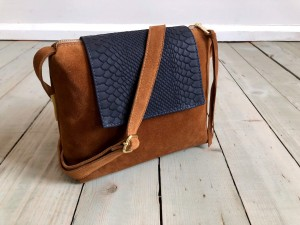 Mini Single Clap Leather Bag Brown Suede + Croco Navy Blue Nubuck