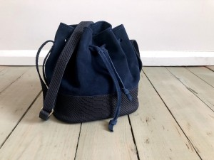 Mini Bucket Bag Dark Navy Blue Nubuck Croco + Navy Blue Suede