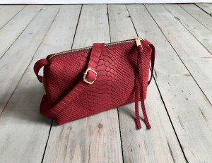 MiniMini Single Bag Wine Croco Nubuck