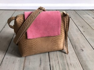Mini Single Clap Leather Bag Beige Croco Nubuck + Rose Suede
