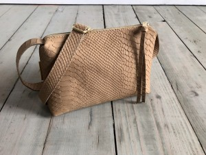 MiniMini Single Bag Beige Croco Nubuck