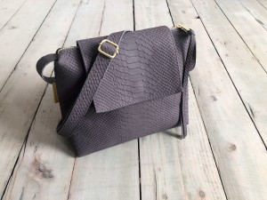 Mini Single Clap Leather Bag Grey Nubuck Croco