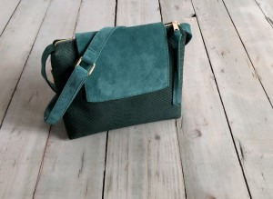 Mini Single Clap Leather Bag Emerald Croco