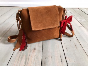 Mini Single Clap Leather Bag Brown Suede Ready to Go!