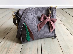 Mini Single Leather Bag Grey Croco