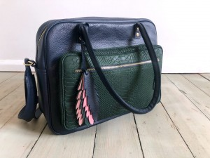 Comfy Leather Bag Navy Blue + Dark Emerald Croco + Feathers