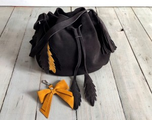 Little Bucket Feathers Bag Graphite Suede Ready to Go!