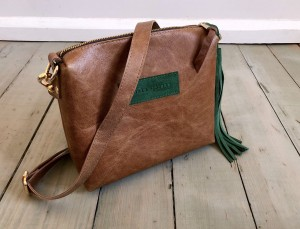 Mini Single Leather Bag Plus Marrone + Green Suede