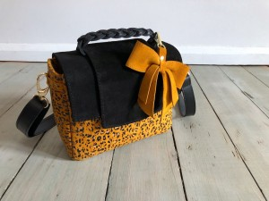 Mini Classic Clap Bag Mustard Dots + Black Suede