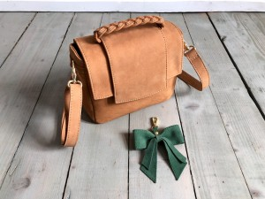 Mini Classic Clap Bag Caramel Nubuck + Green Bow