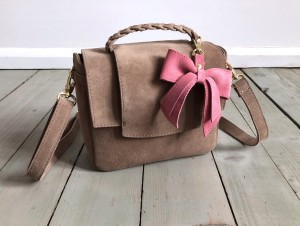 Mini Classic Clap Bag Beige Suede + Rose Bow
