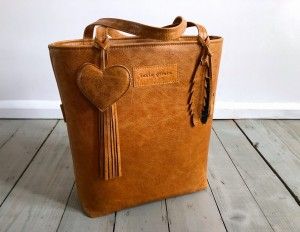 Classic Leather Bag Magda Orange + Heart + Feathers + Fringe
