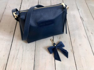 Mini Single Leather Bag Navy Blue Iguana Ready to Go!