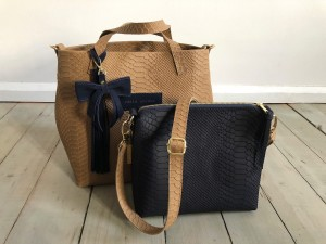Basket Hardy Mini Croco Nubuck Beige + Navy Blue Ready to Go!