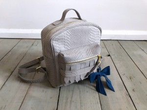Mini BackPack Light Grey Croco Nubuck Ready to Go!