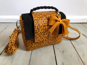 Mini Classic Clap Bag Mustard Dots + Black Suede Ready to Go!