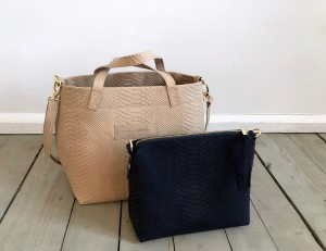 Basket Hardy Mini Croco Nubuck Light Beige + Navy Blue