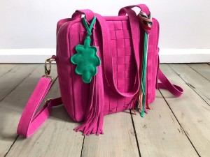 Braided Mini Square Bag Fuchsia Suede Ready to Go!