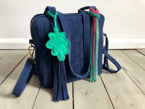Braided Mini Square Bag Navy Blue Suede Ready to Go!