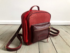 Mini BackPack Logo Wine Croco Nubuck + Maroon Ready to Go!