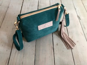 Mini Single Leather Bag Emerald + Beige