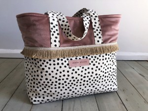 Boho Beach Bag Dots + Pink