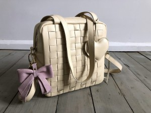 Braided Mini Square Bag Cream Ready to Go!