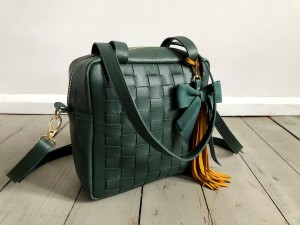 Braided Mini Square Bag Dark Green