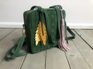 Braided Mini Square Bag Dark Green Suede