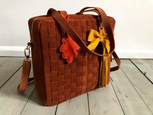 Braided Big Square Bag Tobacco Suede